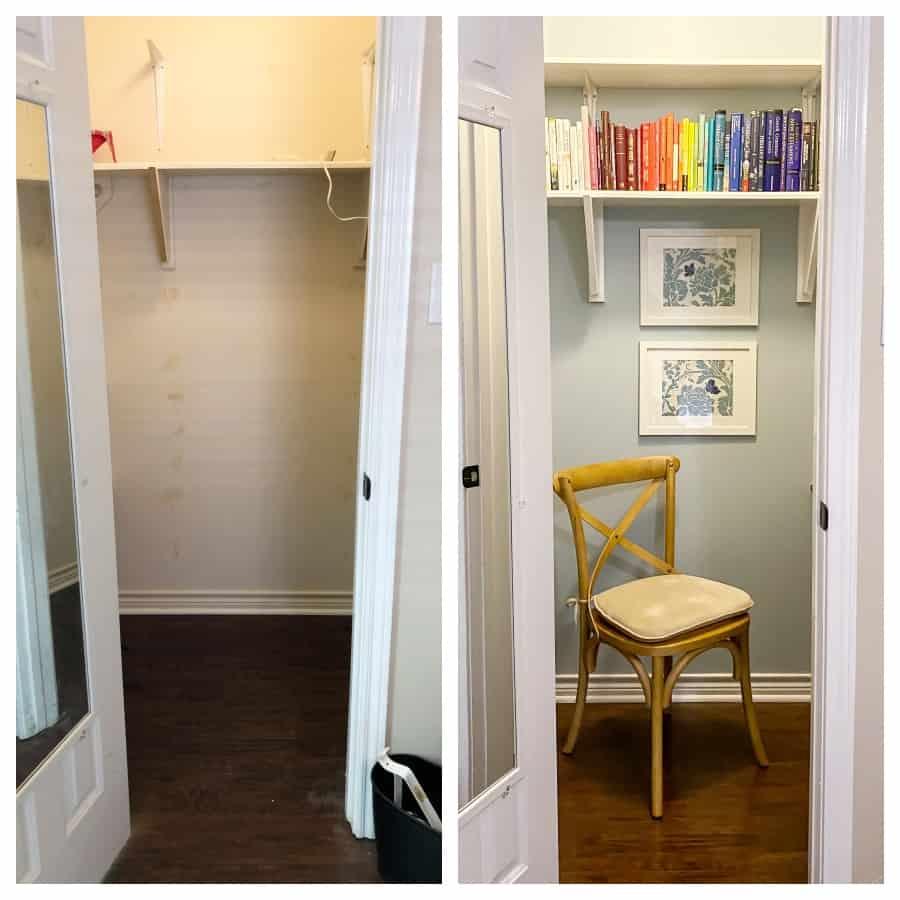 diy closet desk in walk-in closet