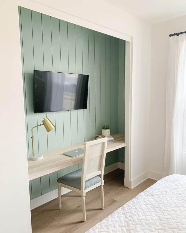 diy closet desk with TV in guest room