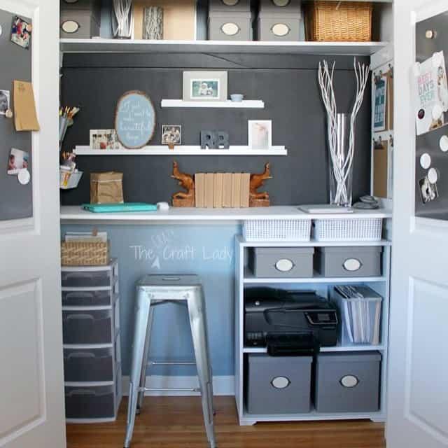 diy craft storage desk in closet
